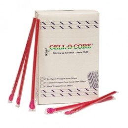 Gold Medal 1120RW Wrapped Spoon Straws Red 25 boxes of 400 per box