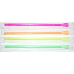 Neon Wrapped Spoon Straws Assorted Colors 25/200ct